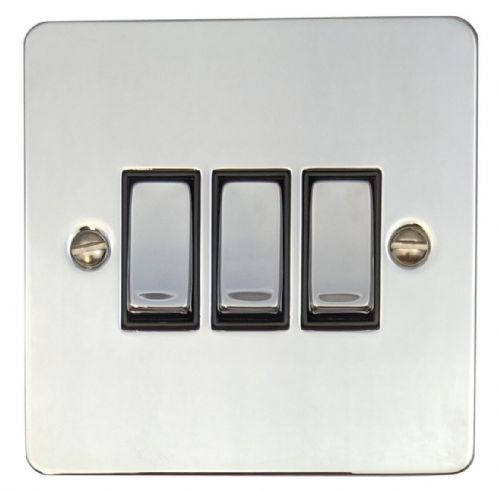 G&H FC303 Flat Plate Polished Chrome 3 Gang 1 or 2 Way Rocker Light Switch